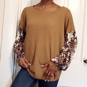 PROMESA | Tan patterned sleeve sweater 76